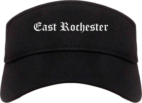 East Rochester New York NY Old English Mens Visor Cap Hat Black