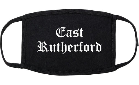 East Rutherford New Jersey NJ Old English Cotton Face Mask Black