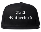 East Rutherford New Jersey NJ Old English Mens Snapback Hat Black