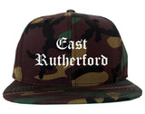 East Rutherford New Jersey NJ Old English Mens Snapback Hat Army Camo