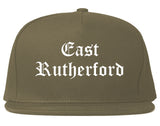 East Rutherford New Jersey NJ Old English Mens Snapback Hat Grey