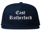 East Rutherford New Jersey NJ Old English Mens Snapback Hat Navy Blue