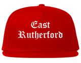 East Rutherford New Jersey NJ Old English Mens Snapback Hat Red