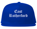 East Rutherford New Jersey NJ Old English Mens Snapback Hat Royal Blue