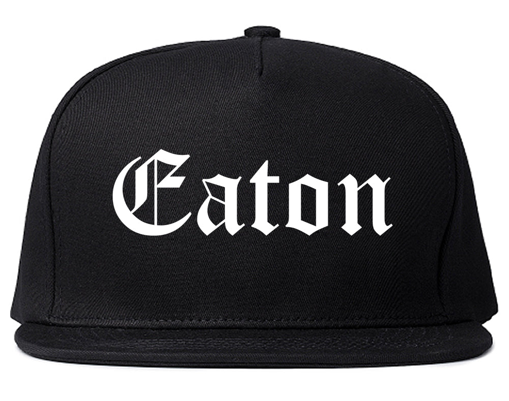 Eaton Ohio OH Old English Mens Snapback Hat Black