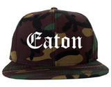 Eaton Ohio OH Old English Mens Snapback Hat Army Camo