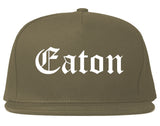 Eaton Ohio OH Old English Mens Snapback Hat Grey