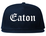 Eaton Ohio OH Old English Mens Snapback Hat Navy Blue