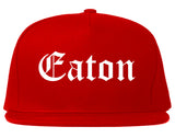 Eaton Ohio OH Old English Mens Snapback Hat Red