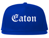 Eaton Ohio OH Old English Mens Snapback Hat Royal Blue