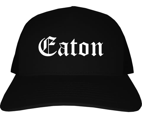 Eaton Ohio OH Old English Mens Trucker Hat Cap Black