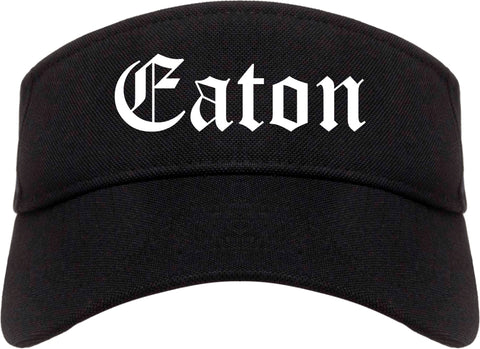 Eaton Ohio OH Old English Mens Visor Cap Hat Black