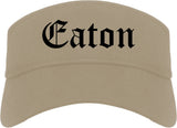 Eaton Ohio OH Old English Mens Visor Cap Hat Khaki