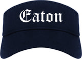 Eaton Ohio OH Old English Mens Visor Cap Hat Navy Blue