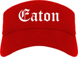Eaton Ohio OH Old English Mens Visor Cap Hat Red