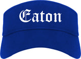 Eaton Ohio OH Old English Mens Visor Cap Hat Royal Blue