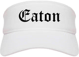 Eaton Ohio OH Old English Mens Visor Cap Hat White