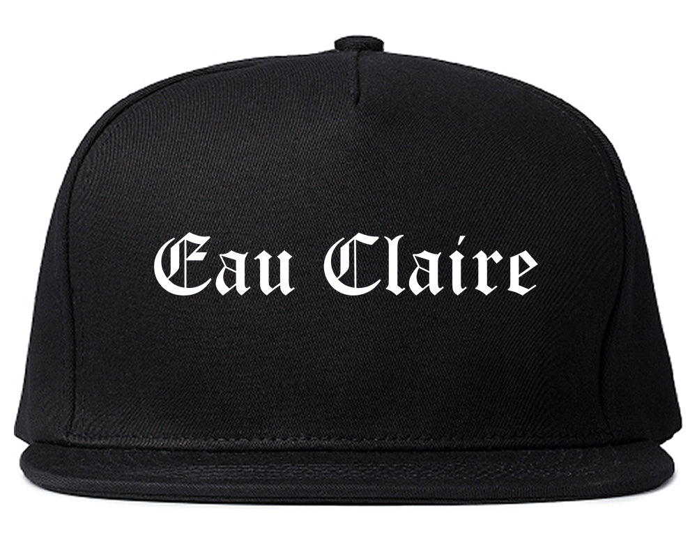 Eau Claire Wisconsin WI Old English Mens Snapback Hat Black