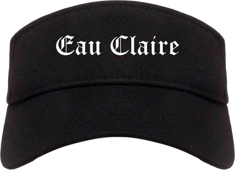 Eau Claire Wisconsin WI Old English Mens Visor Cap Hat Black