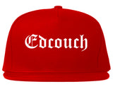 Edcouch Texas TX Old English Mens Snapback Hat Red