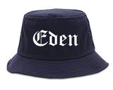 Eden North Carolina NC Old English Mens Bucket Hat Navy Blue