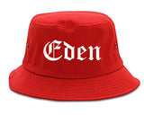 Eden North Carolina NC Old English Mens Bucket Hat Red