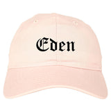 Eden North Carolina NC Old English Mens Dad Hat Baseball Cap Pink