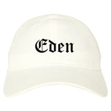 Eden North Carolina NC Old English Mens Dad Hat Baseball Cap White