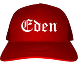 Eden North Carolina NC Old English Mens Trucker Hat Cap Red
