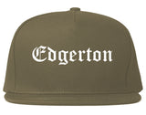 Edgerton Wisconsin WI Old English Mens Snapback Hat Grey