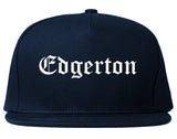 Edgerton Wisconsin WI Old English Mens Snapback Hat Navy Blue