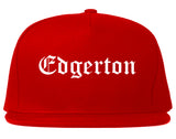 Edgerton Wisconsin WI Old English Mens Snapback Hat Red