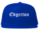 Edgerton Wisconsin WI Old English Mens Snapback Hat Royal Blue