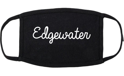 Edgewater Florida FL Script Cotton Face Mask Black