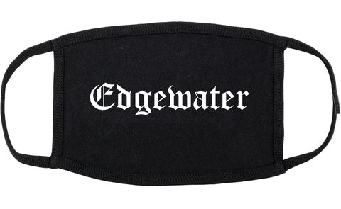 Edgewater New Jersey NJ Old English Cotton Face Mask Black