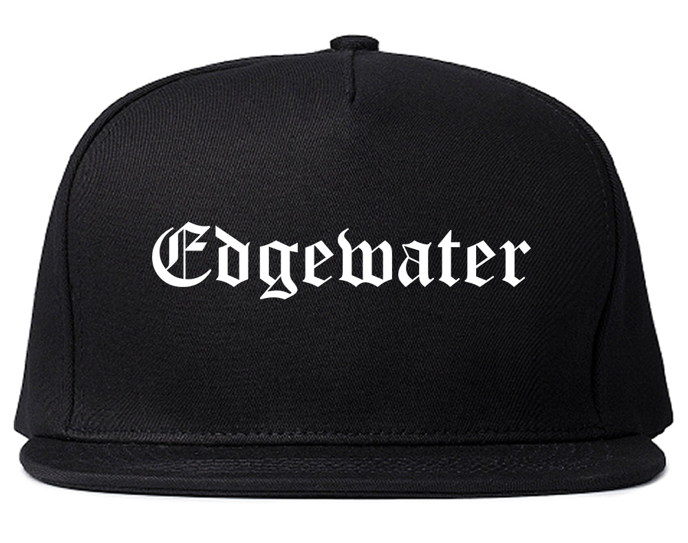 Edgewater New Jersey NJ Old English Mens Snapback Hat Black
