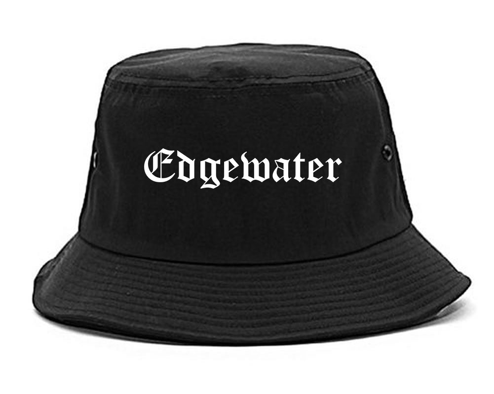 Edgewater New Jersey NJ Old English Mens Bucket Hat Black