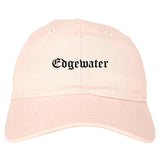 Edgewater New Jersey NJ Old English Mens Dad Hat Baseball Cap Pink