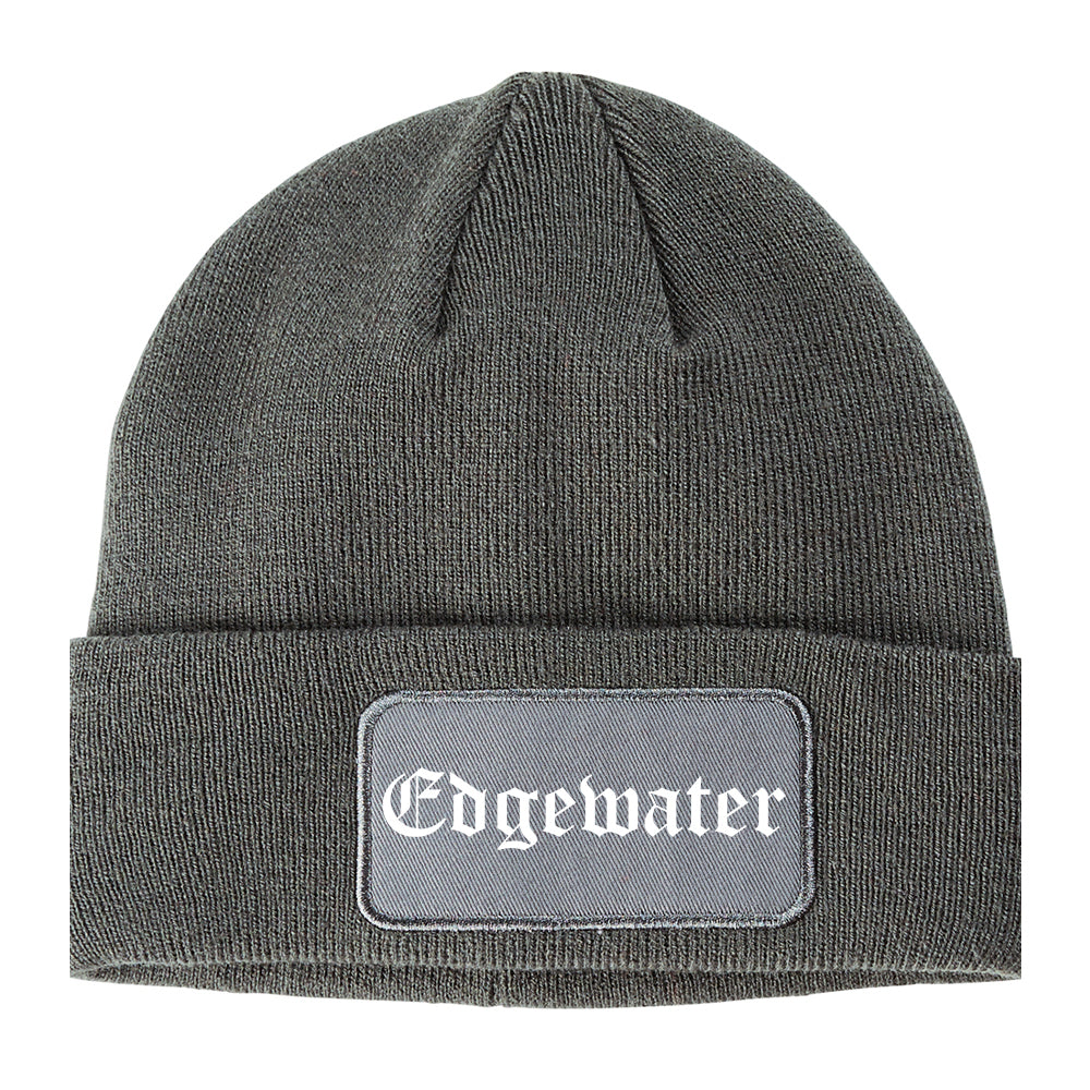 Edgewater New Jersey NJ Old English Mens Knit Beanie Hat Cap Grey