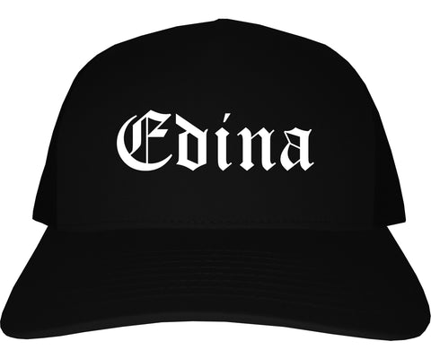 Edina Minnesota MN Old English Mens Trucker Hat Cap Black