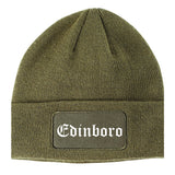 Edinboro Pennsylvania PA Old English Mens Knit Beanie Hat Cap Olive Green