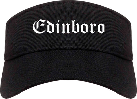 Edinboro Pennsylvania PA Old English Mens Visor Cap Hat Black
