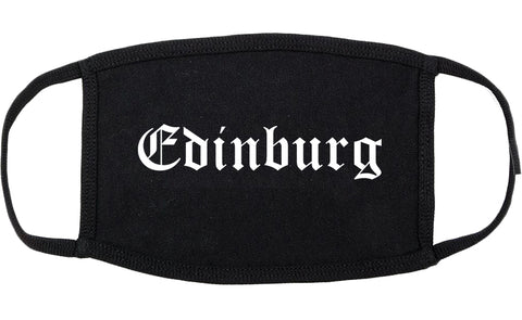 Edinburg Texas TX Old English Cotton Face Mask Black