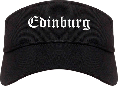 Edinburg Texas TX Old English Mens Visor Cap Hat Black