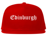 Edinburgh Indiana IN Old English Mens Snapback Hat Red