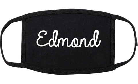 Edmond Oklahoma OK Script Cotton Face Mask Black