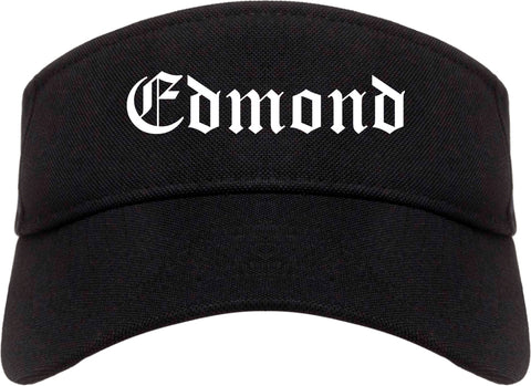Edmond Oklahoma OK Old English Mens Visor Cap Hat Black