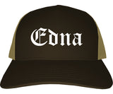 Edna Texas TX Old English Mens Trucker Hat Cap Brown