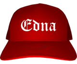 Edna Texas TX Old English Mens Trucker Hat Cap Red
