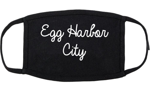 Egg Harbor City New Jersey NJ Script Cotton Face Mask Black